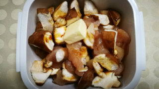 シイタケとササミのバター醤油和え